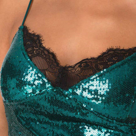 Drilly Top in Teal Mini Sequin With Black Lace by Motel