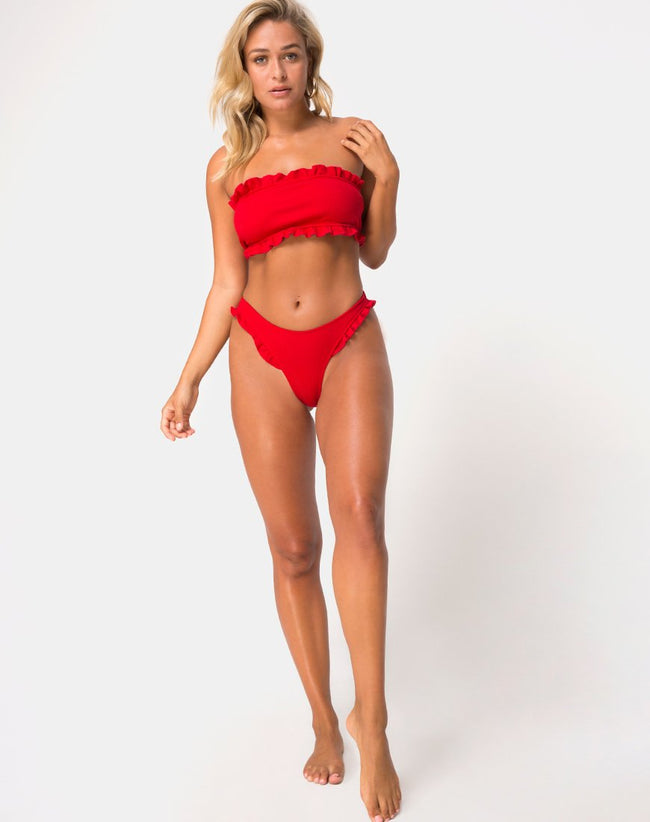 Effie Bikini Top in Red Rib by Motel