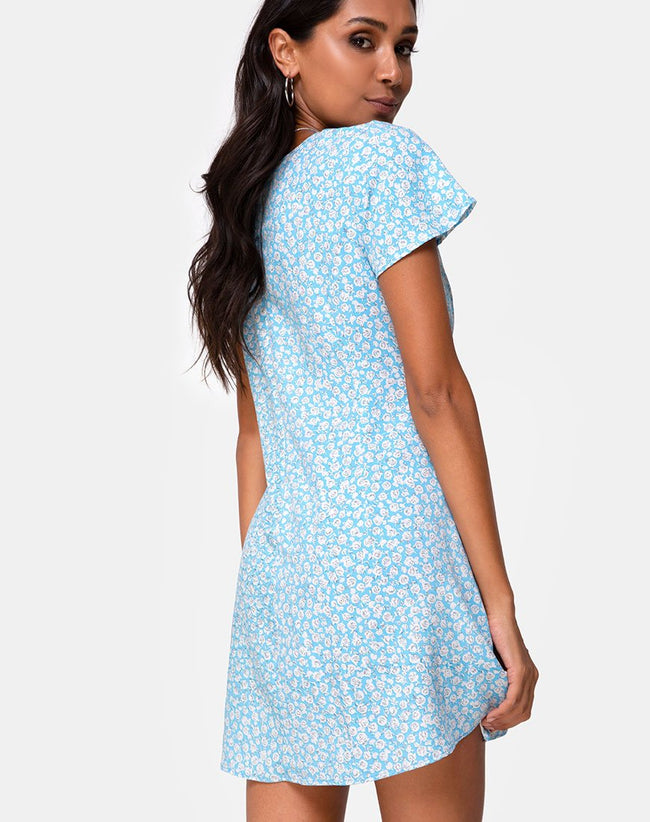 Elara Dress in Ditsy Rose Blue by Motel