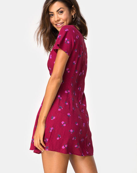 Elara Dress in Magenta Rose Pink By Motel