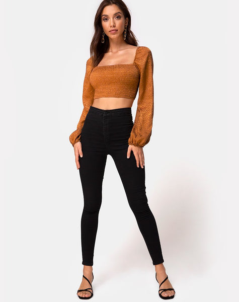 Elina Top in Satin Cheetah Gold by Motel