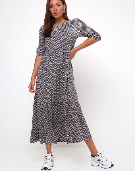 Ellery Maxi Dress in Check it Out Black by Motel