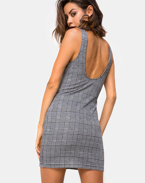 Ena Bodycon Dress in Hook and Eye Charles Check by Motel