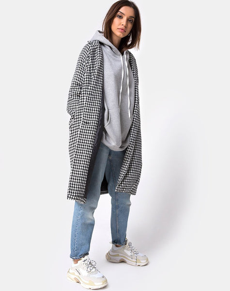 Ernest Coat in Houndstooth Check Black and White by Motel