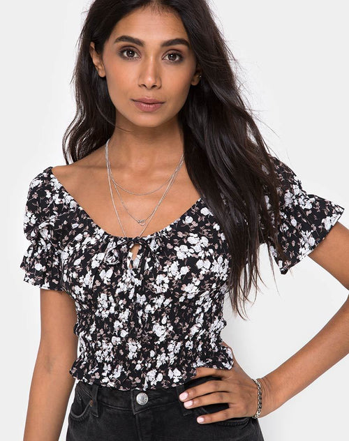 Evony Top in Dark Wild Flower by Motel