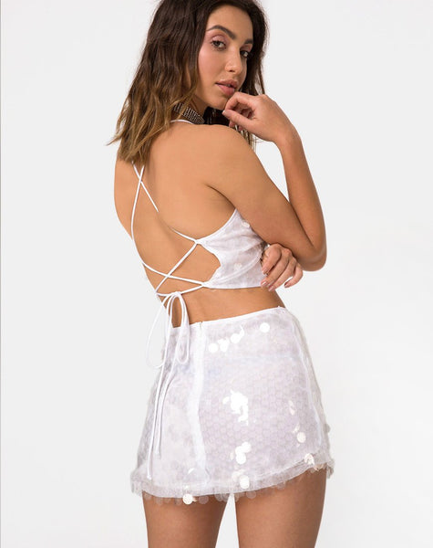 Ewi Mini Skirt in Clear Disc Sequin by Motel