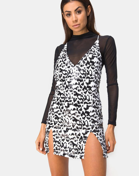 Faini Slip Dress in White Leopard Sequin by Motel