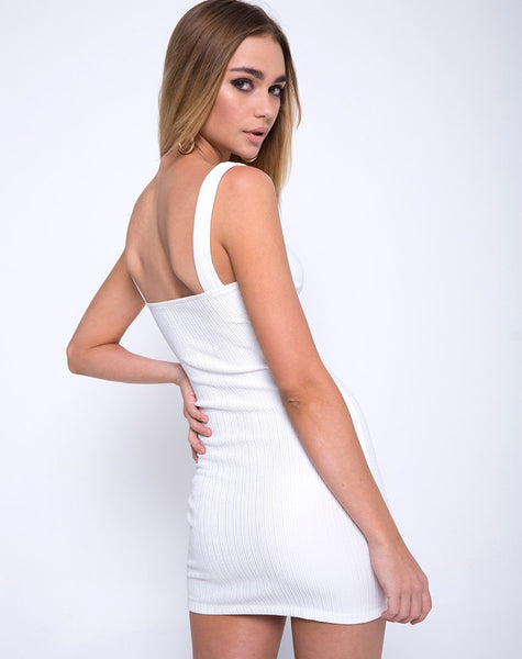 Farlie Bodycon Dress in Multi Rib Ivory by Motel