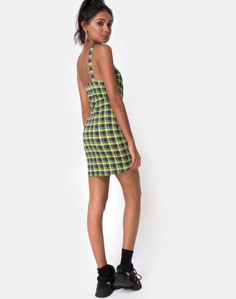 Farzi Bodycon Dress in Green and Purple Check by Motel