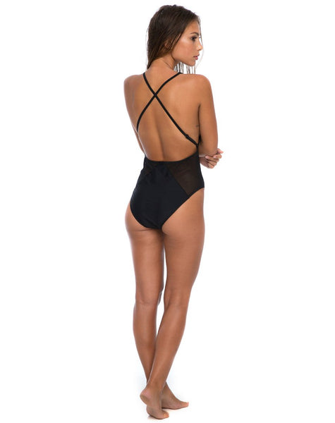 Figg Plunge Swimsuit in Cut and Sew Stars by Motel