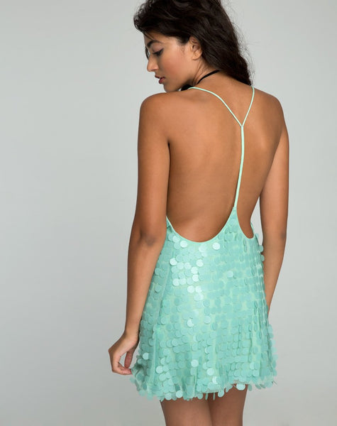Finn Dress in Disc Sequin Mint by Motel