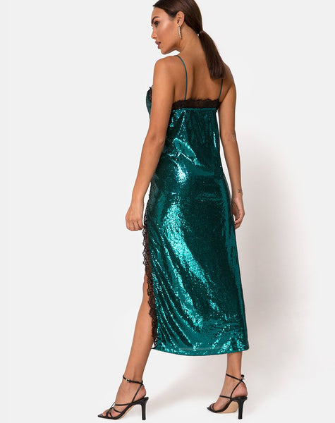 Fitilia Dress in Teal Mini Sequin with Black Lace by Motel