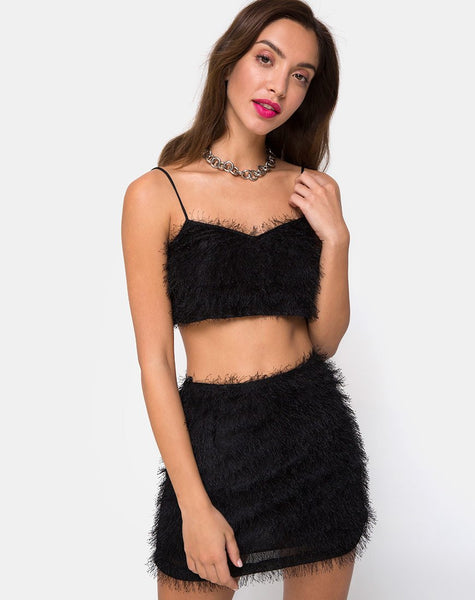 Weaver High Waist Skirt in Fringe Black by Motel