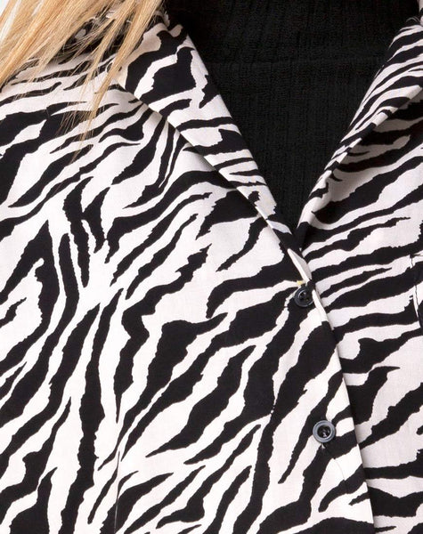 Fresia Mini Dress in 90's Zebra Black and White by Motel