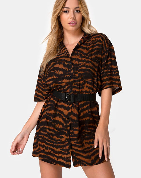 Fresia Mini Dress in Animal Drip Brown by Motel