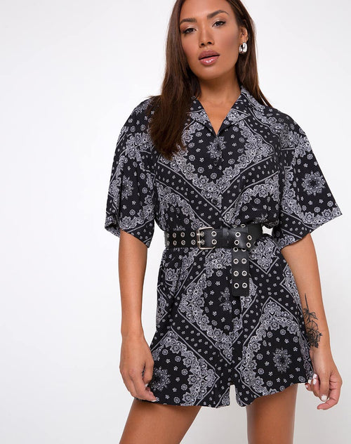 Fresia Shirt Dress in Bandana Black Placement by Motel