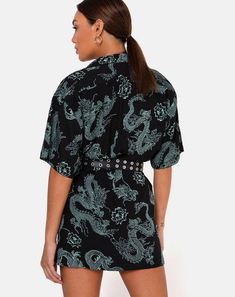 Fresia Dress in Dragon Flower Black and Mint by Motel