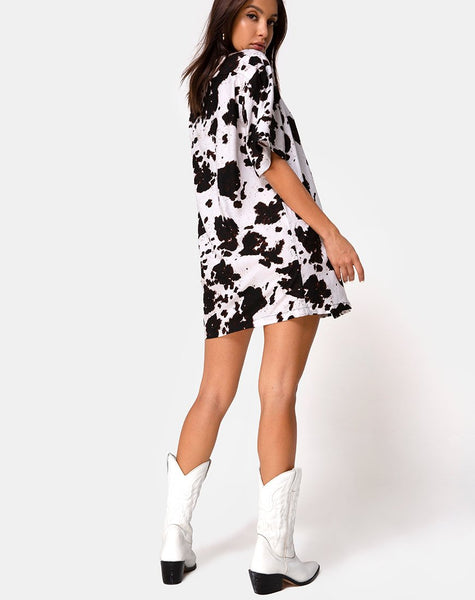 Fresia Mini Dress in Cow Hide Brown and White by Motel