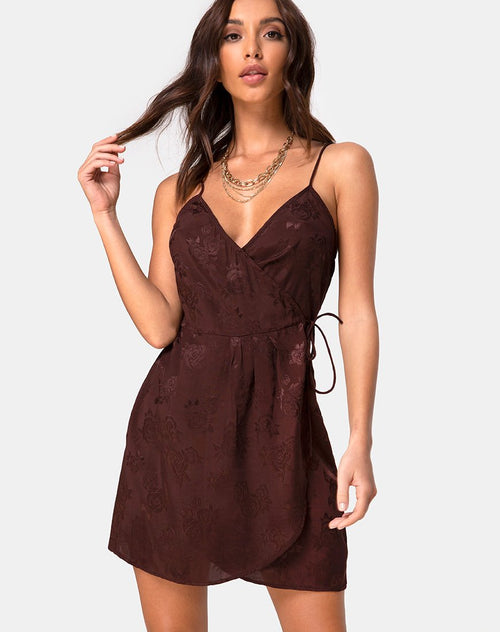 Furiosa Wrap Dress in Satin Rose Cocoa by Motel