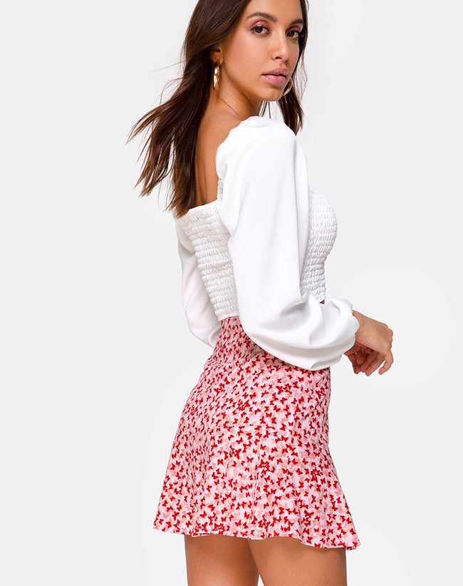 Gaelle Mini Skirt in Ditsy Butterfly Peach and Red by Motel