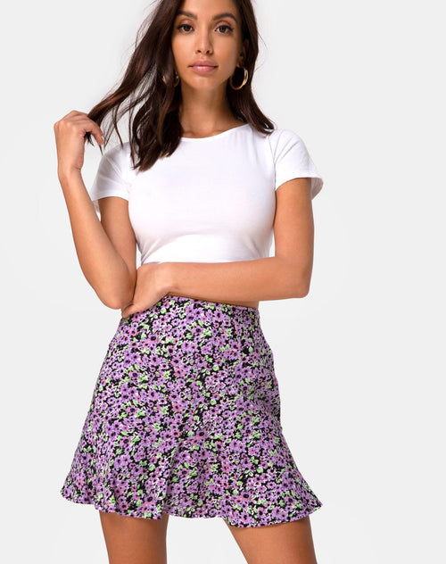Gaelle Mini Skirt in Lilac Blossom by Motel