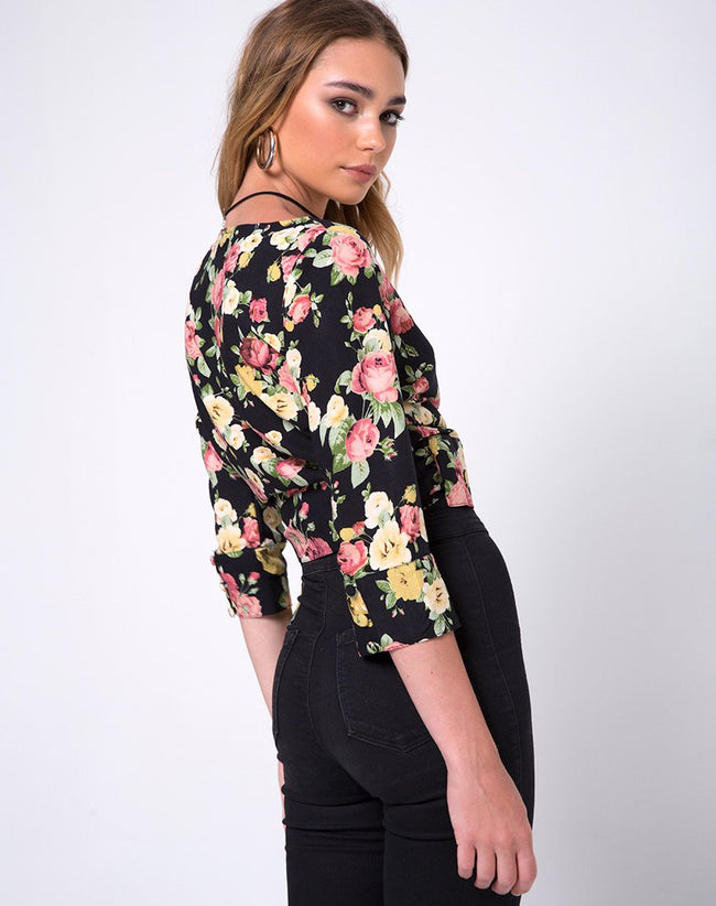 Gamthi Wrap Top in Vintage bloom by Motel