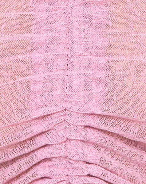 Ganida Crop Top in Sheer Knit Blush by Motel
