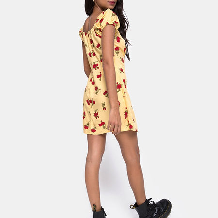 Gaval Mini Dress in Falling Rose Yellow by Motel