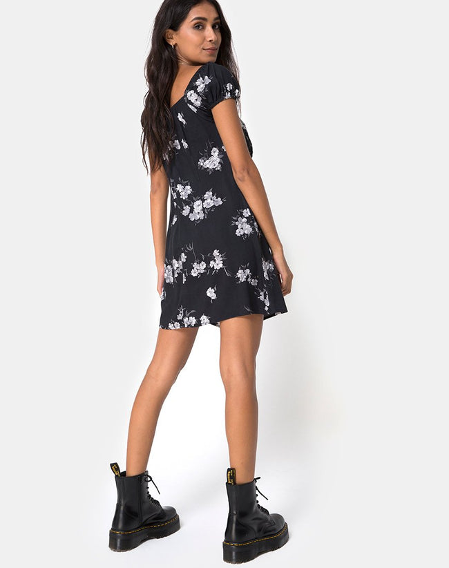 Gaval Mini Dress in Mono Flower Black by Motel