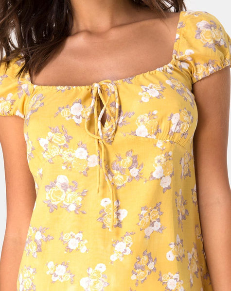 Gaval Mini Dress in Rose Bunch Yellow by Motel