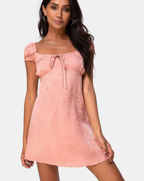 Gaval Dress in Satin Cheetah Dusty Pink by Motel