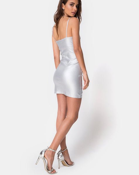 Gilea Bodycon Dress in Silver Metallic by Motel