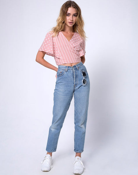 Gios Wrap Top in Spot Stripe Pink and White by Motel