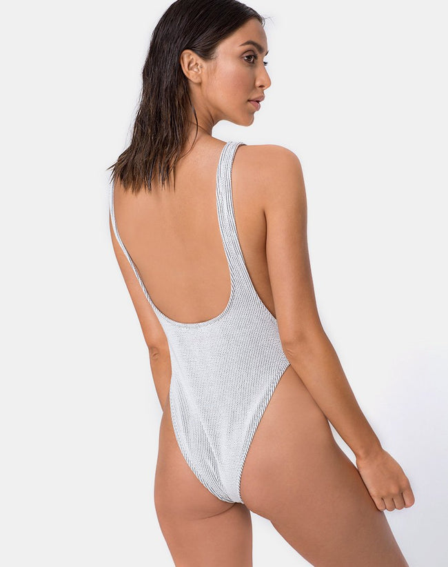Goddess Swimsuit in Crinkle Rib White by Motel