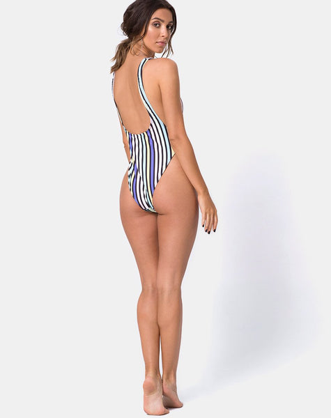Goddess Swimsuit in New Vertical Stripe by Motel