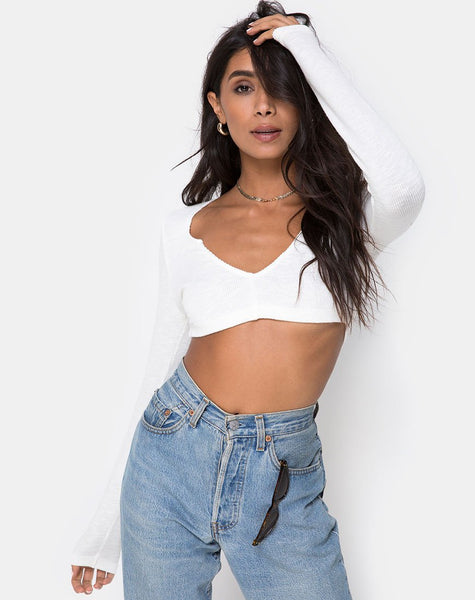 Guan Crop Top in Rib Ivory by Motel