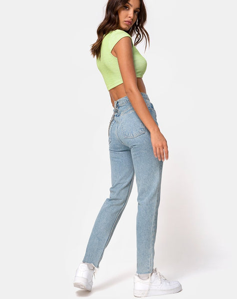 Guanna Crop Top in Rib Lime by Motel