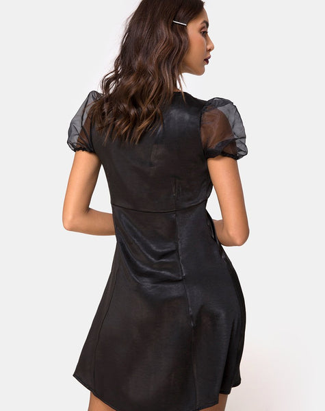 Guenelle Dress in Satin Black by Motel