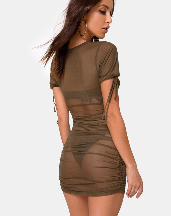 Guenetta Dress in Olive Net by Motel