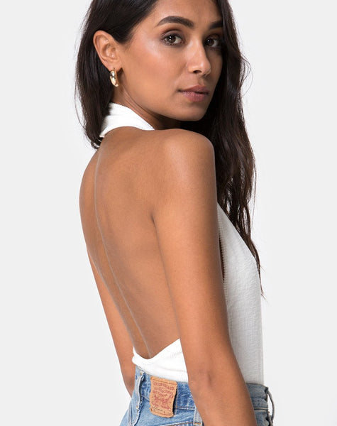 Hata Bodice in Rib Ivory by Motel
