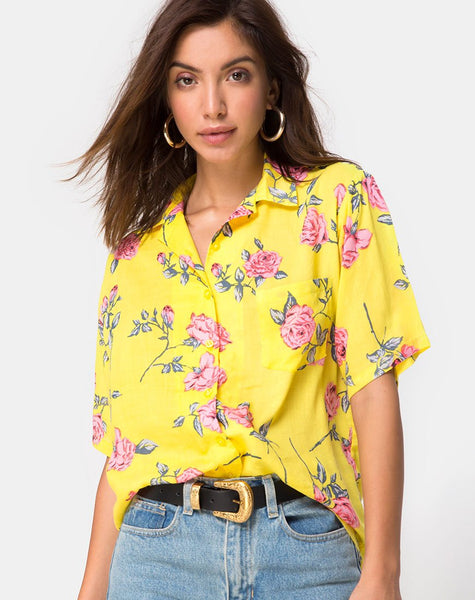 Hawaiian Shirt in Candy Rose Yellow by Motel