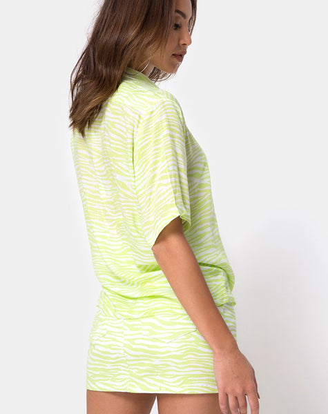 Hawaiian Shirt in Classic Zebra Lime by Motel