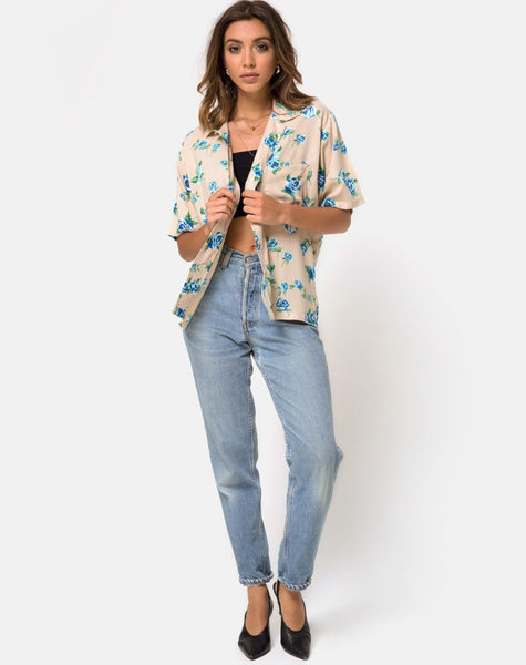 Hawaiian Shirt in Rose Blossom Blue by Motel