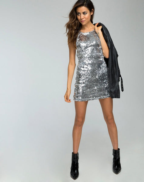 Hedi Dress in Fishcale Sequin Silver by Motel
