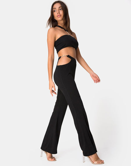 Hearty Flare Trouser in Black Spandex by Motel