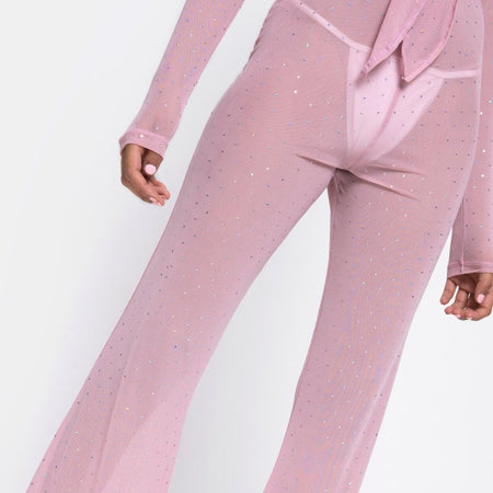 Herlom Flare Trouser in Crystal Net Rose by Motel