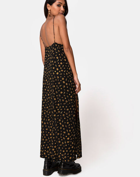 Hermina Maxi Dress in Mini Astro Black by Motel