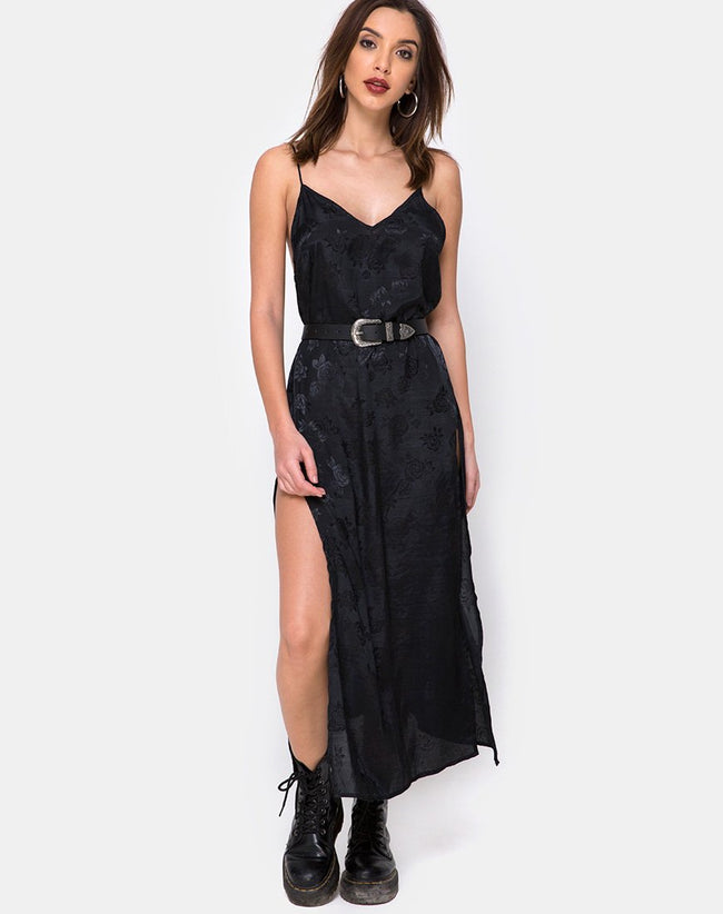 Hime Maxi Dress in Satin Black Rose by Motel