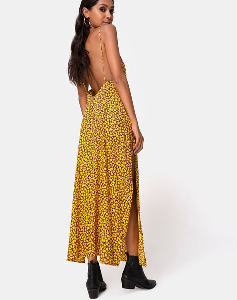 Hime Maxi Dress in Ditsy Rose Marigold by Motel