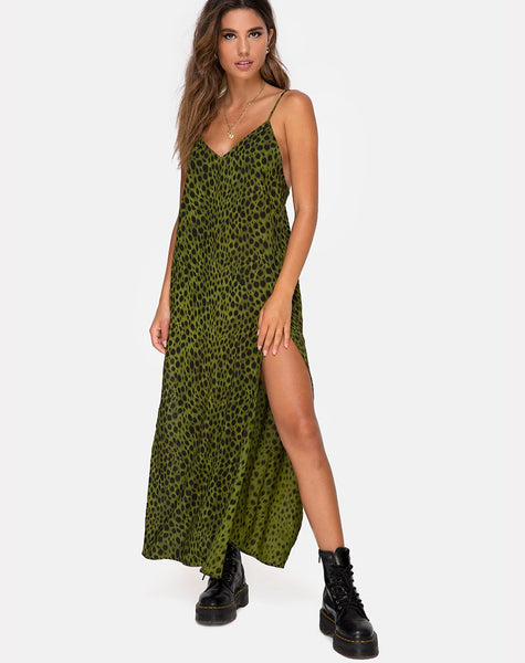 Hime Maxi Dress in Cheetah Khaki by Motel